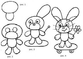 Поэтапное рисование животных для детей